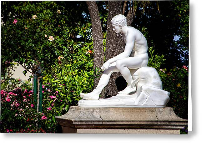 Garden Statue - Hearst Castle California Greeting Card by Jon Berghoff