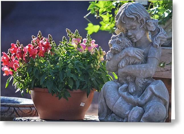 Garden Statue Greeting Card by Penni D'Aulerio