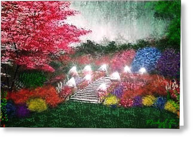 Greeting Card featuring the painting Garden Terrace by Michael Rucker