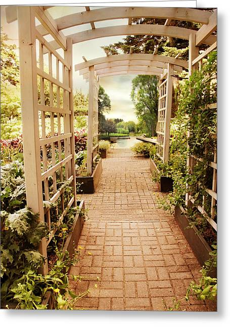 Garden Trellis View Greeting Card by Jessica Jenney