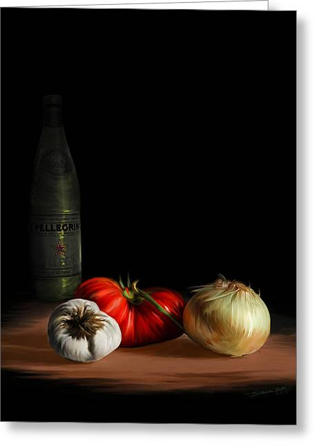 Garden Vegetables With Pellegrino Greeting Card by Sharon Beth