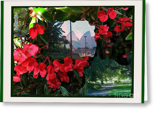 Greeting Card featuring the photograph Garden Whispers In A Green Frame by Leanne Seymour