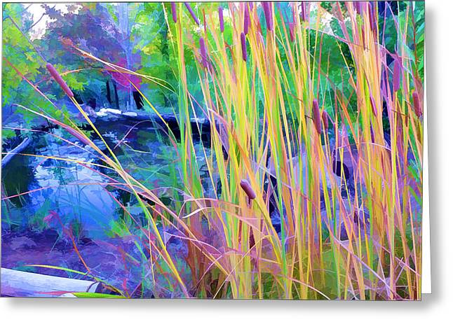 Garden With Koi Pond And Cattails Greeting Card