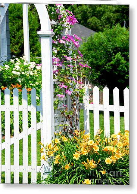 Garden With Picket Fence Greeting Card