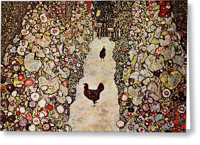 Garden With Roosters Greeting Card by Celestial Images