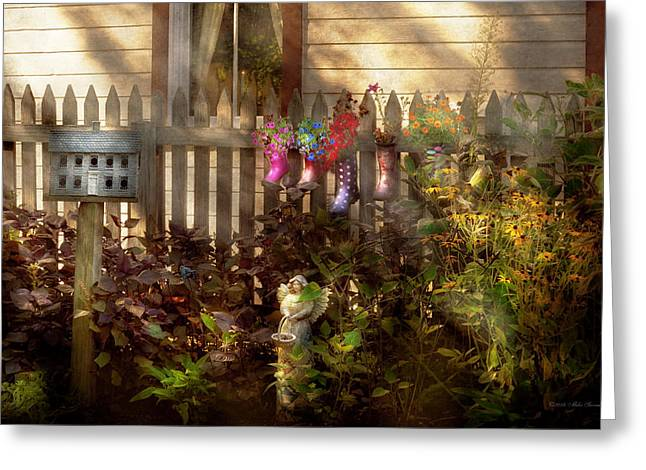 Garden - Zoar Oh - Ready For Rain Greeting Card by Mike Savad