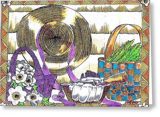 Greeting Card featuring the drawing Gardener's Basket by Seth Weaver