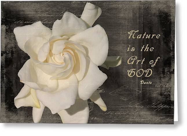 Gardenia And Quote Greeting Card by Rosalie Scanlon