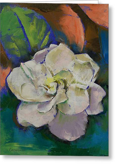Gardenia Greeting Card by Michael Creese
