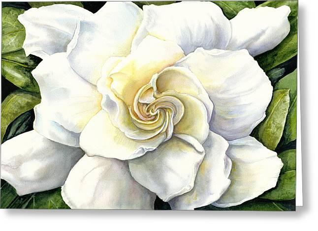 Gardenia Greeting Card by Karen Wright