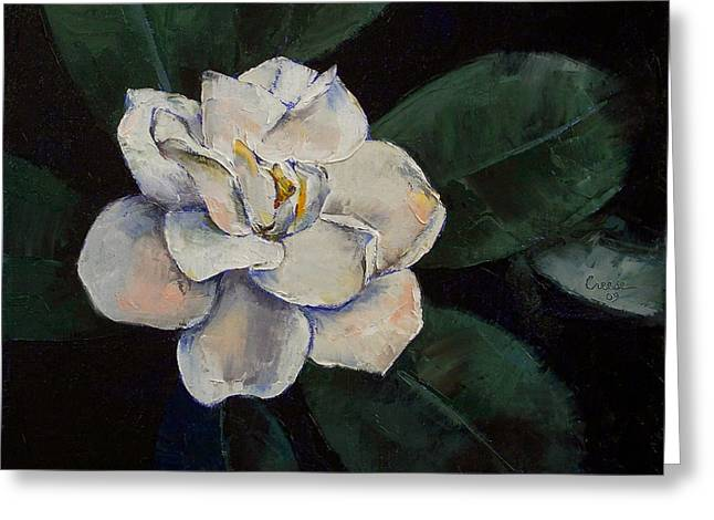 Gardenia Oil Painting Greeting Card by Michael Creese