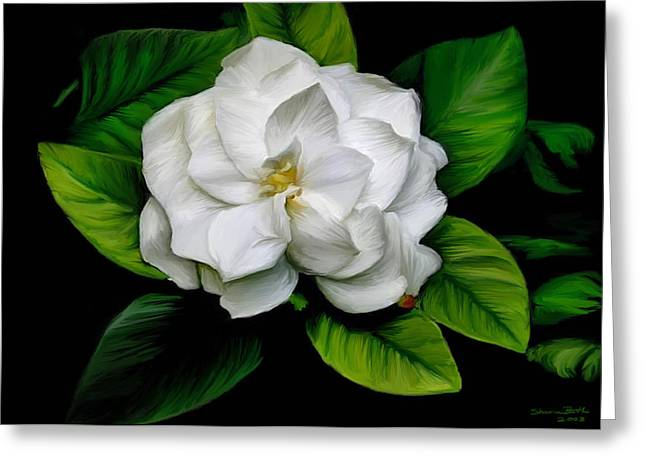 Greeting Card featuring the painting Gardenia by Sharon Beth