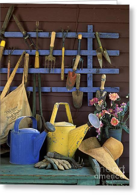 Gardening Tools - Fm000055 Greeting Card by Daniel Dempster