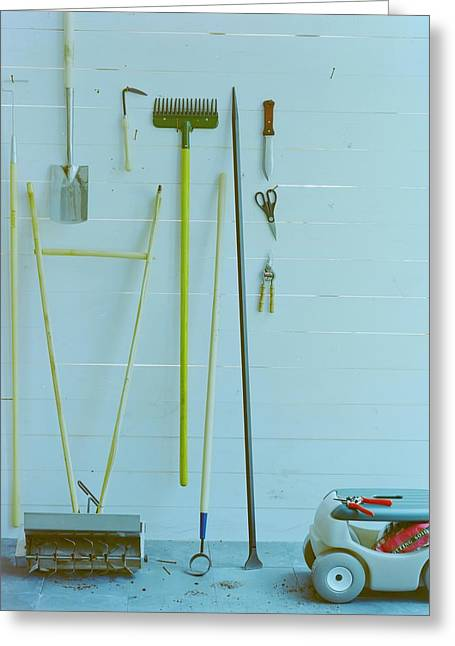 Gardening Tools Greeting Card by Romulo Yanes
