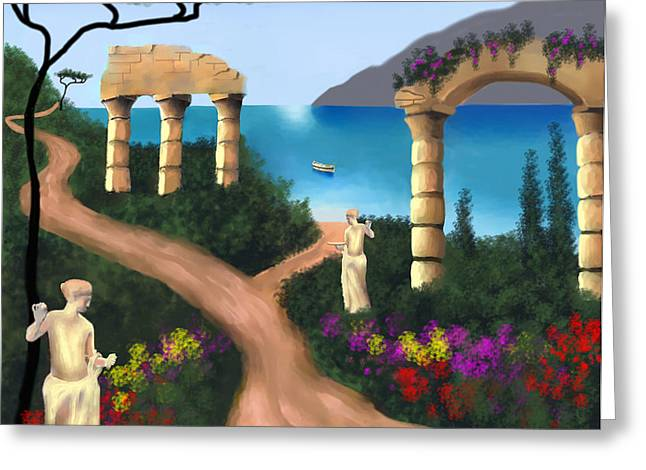 Gardens Of Venus Greeting Card by Larry Cirigliano
