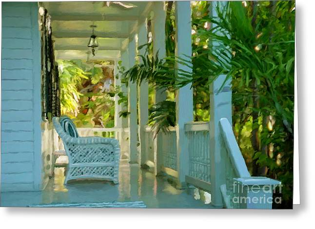 Gardens Porch In Key West Greeting Card by David  Van Hulst