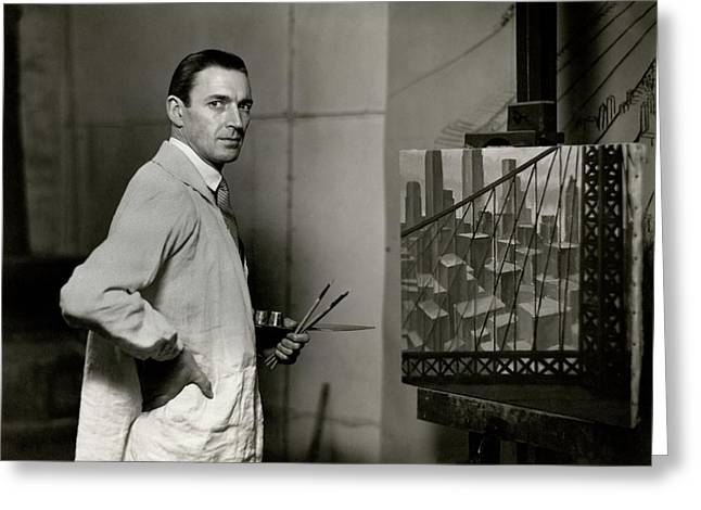 Gardner Hale In Front Of A Painting Greeting Card by Paul Hansen