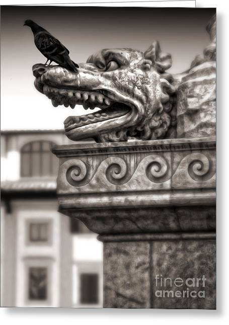Gargoyle And Pidgeon - Sepia Greeting Card by Gregory Dyer