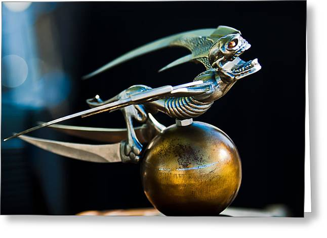 Gargoyle Hood Ornament Greeting Card by Jill Reger