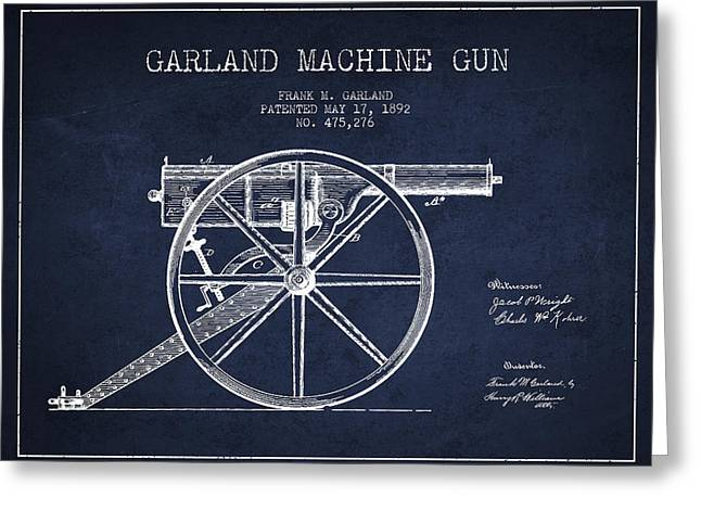 Garland Machine Gun Patent Drawing From 1892 - Navy Blue Greeting Card by Aged Pixel