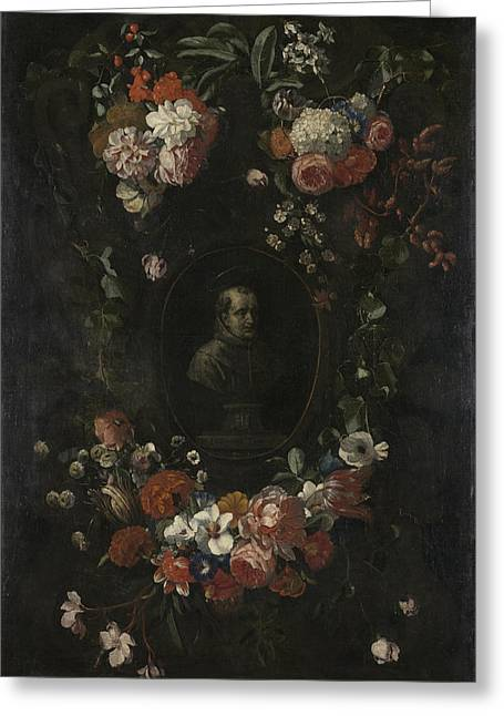 Garland Of Flowers Surrounding Portrait Of Hieronymus Van Greeting Card by Litz Collection