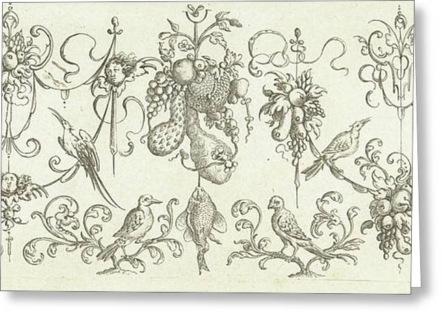 Garlands With Fruits And Cherubs, Print Maker Henry Le Roy Greeting Card by Henry Le Roy And Michiel Le Blon And Anonymous