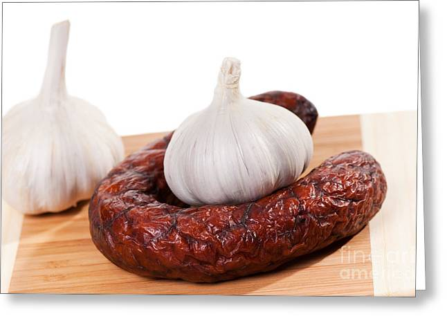Smoked Sausage And Two Garlic Bulbs  Greeting Card