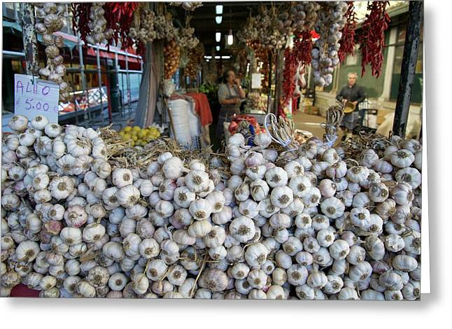 Garlic On Sale In Porto Street Market Greeting Card