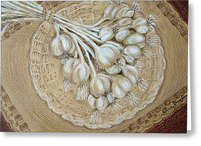 Greeting Card featuring the drawing Garlic by Patricia Januszkiewicz
