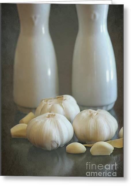 Garlic Vinegar And Oil Greeting Card by Sophie Vigneault