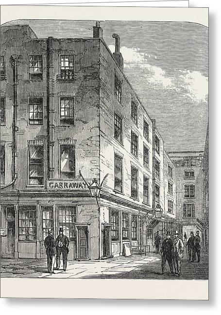 Garraways Coffee House, Change Alley, London Greeting Card by English School