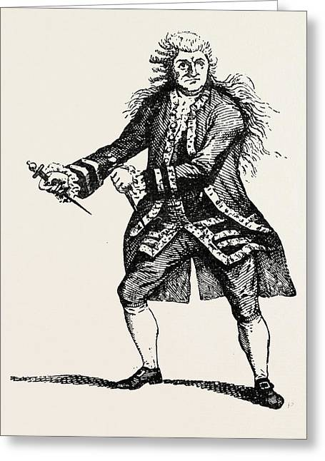 Garrick As Macbeth, Shakespeare, English Poet And Playwright Greeting Card by English School