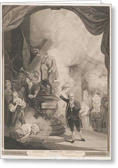 Garrick Speaking The Jubilee Ode Greeting Card by after Robert Edge Pine