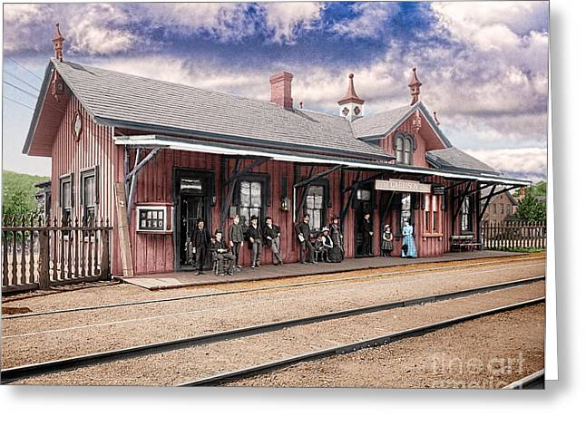 Garrison Train Station Colorized Greeting Card