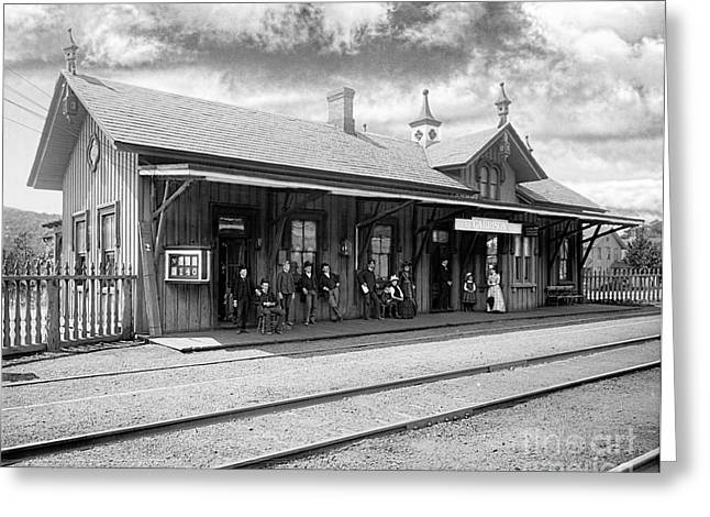 Garrison Train Station In Black And White Greeting Card