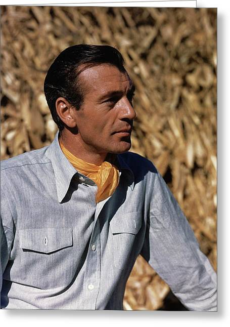 Gary Cooper In Profile Greeting Card by Alexander Paal