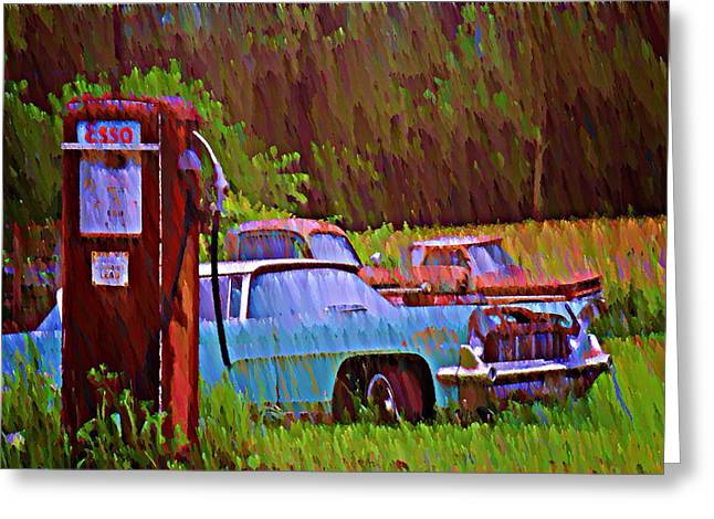 Gas And Go Greeting Card by Bill Cannon