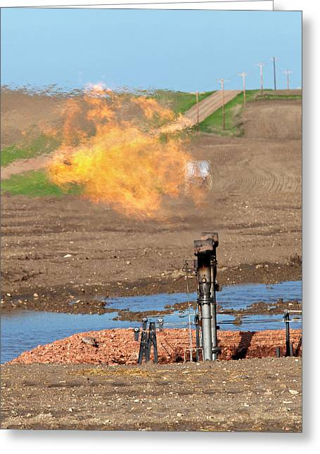 Gas Flare At An Oil Field Greeting Card by Jim West