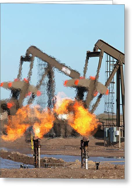 Gas Flares At An Oil Field Greeting Card by Jim West