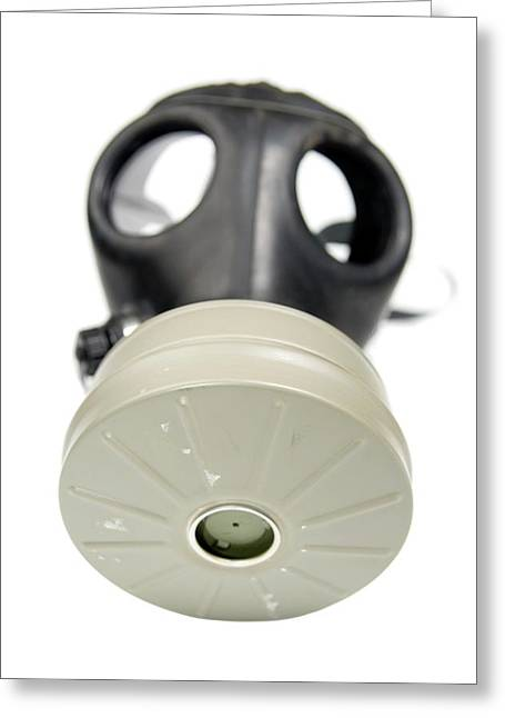 Gas Mask On Whit Greeting Card by Photostock-israel