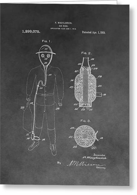 Gas Mask Patent Greeting Card