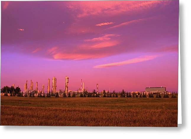 Gas Plant At Sunrise, Inter Pipeline Greeting Card