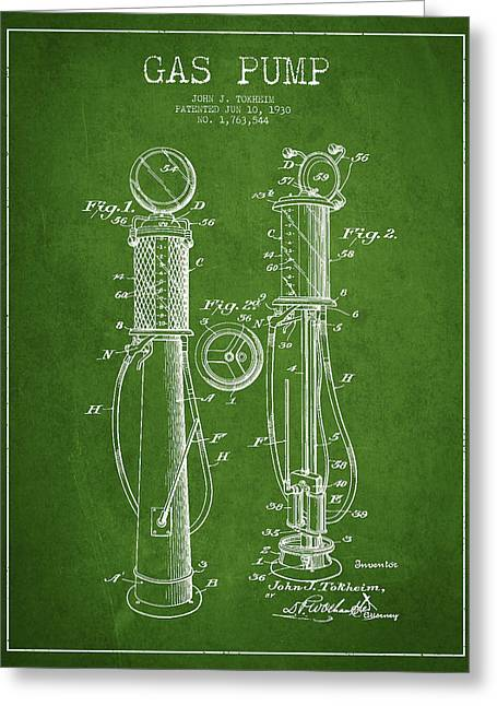 Gas Pump Patent Drawing From 1930 - Green Greeting Card by Aged Pixel