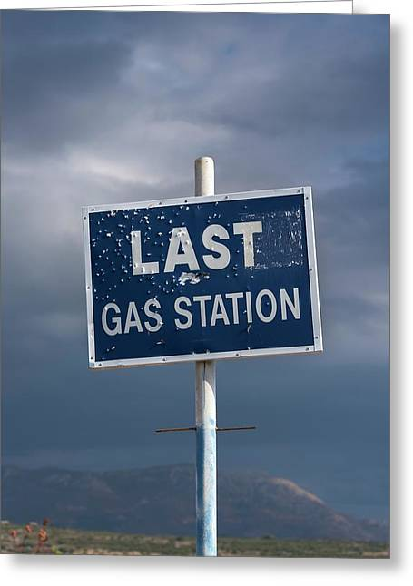 Gas Station Roadsign Greeting Card