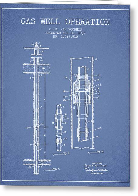 Gas Well Operation Patent From 1937 - Light Blue Greeting Card by Aged Pixel