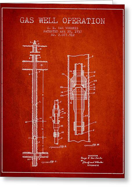 Gas Well Operation Patent From 1937 - Red Greeting Card by Aged Pixel