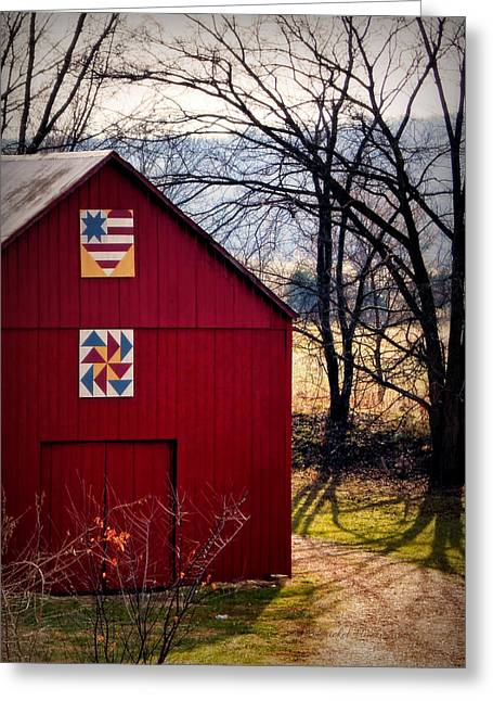 Gasconade Double Quilt Barn Greeting Card by Cricket Hackmann
