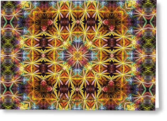 Gasket Kaleidoscope Greeting Card by Peggi Wolfe