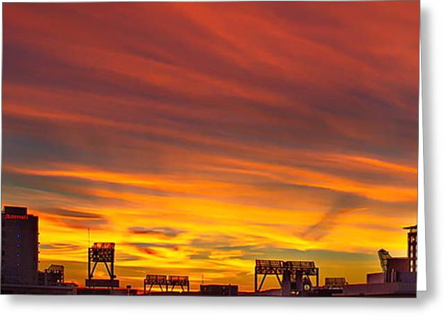 Gaslamp Sunrise Greeting Card by Russ Harris