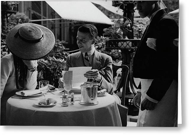 Gaston De Clairville At Lunch With A Woman Greeting Card by Roger Schall